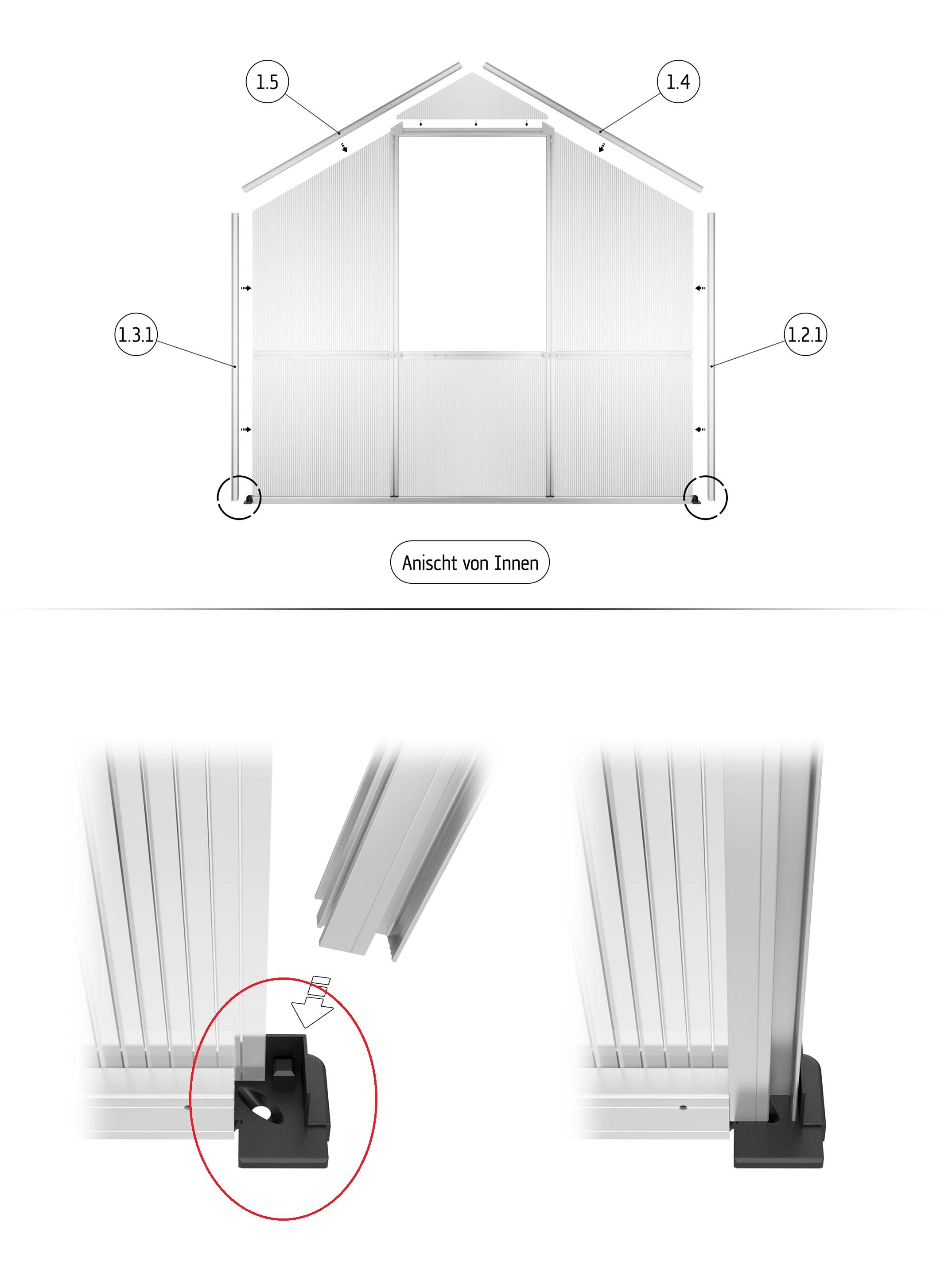 Eckverbinder - Bodenprofil 6 mm