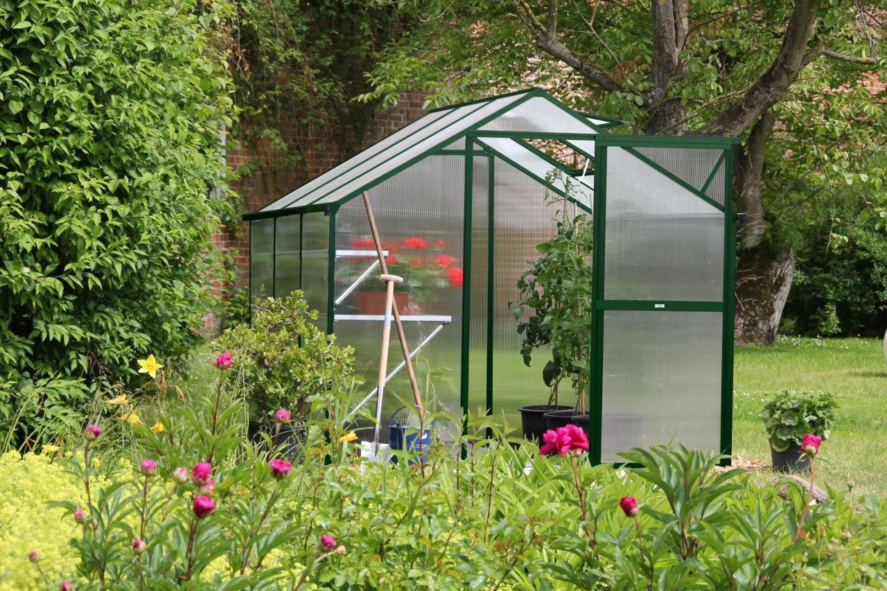 Gewächshaus Flora III - moosgrün